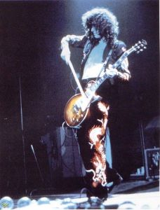 Jimmy Page in velvet dragon-print pants